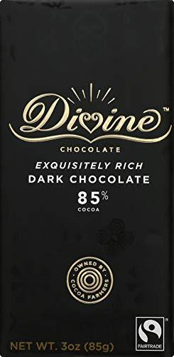 Divine Chocolate, Bar Dark Chocolate Exquisitely Rich 85%, 3 Ounce