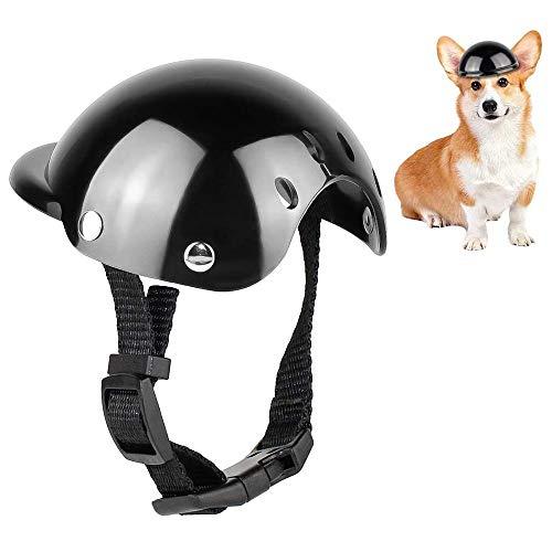 YGHH Casco de Perro para Motocicleta, Casco para Mascotas, Casco para Perros, Universal El Plastico Ajustable Casco de Moto para Perro para Perros Medianos, Perros Pequeños, Gatos (Negro)