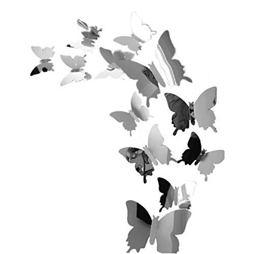 Ruluti 12 Pc/De Espejo Pegatinas De Pared De Forma De Mariposa Combinación Etiqueta Engomada del Arte De La Ventana Habitación Sala Vinilos Decorativos