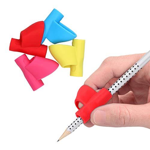kwmobile Impugnature ergonomiche per penne matite - 4x Correttori in silicone con supporto dita destrorsi e mancini - Set Pencil Grip in diversi colori
