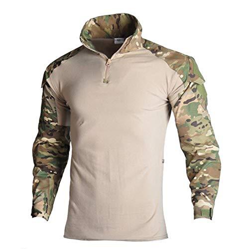Muchen Camouflage Military Tactical Uniform Pantalon de chasse avec coudière Arisoft Costume de paintball Vêtements Ghillie, T-shirt multi format., XXL