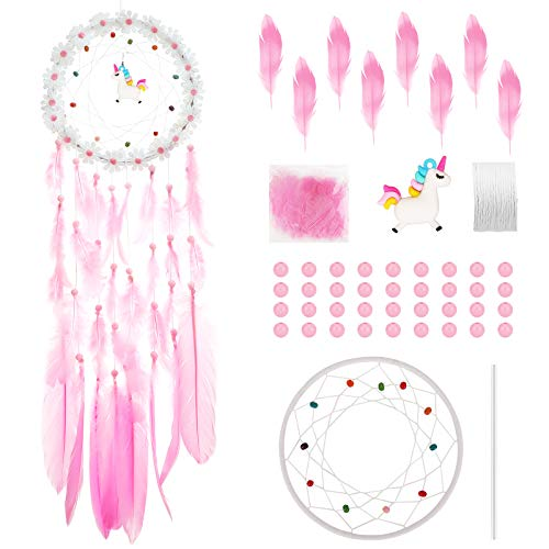 Hifot Unicorn Dream Catcher Kit DIY Kids Craft Arts Toys, Make Your Own Dream Catche Handmade Product Kit, Room Decor Craft with Beads for Girls over Age 5 - Teen