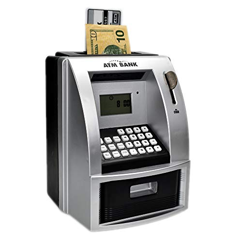 Lyght ATM Savings Bank for Real Money, Electronic Piggy Bank to Teach Savings, Classic Counting Toy,Talking Kids Money Bank, Safe Box for Kids, Ages 6+, Silver