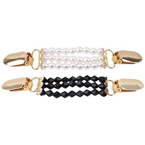 Yangyme 2 Stück Künstliche Perle Perlen Cardigan Clip Pullover Verschlussklammer für Strickjacken Metall Schmuck Schnalle Damenschmuck
