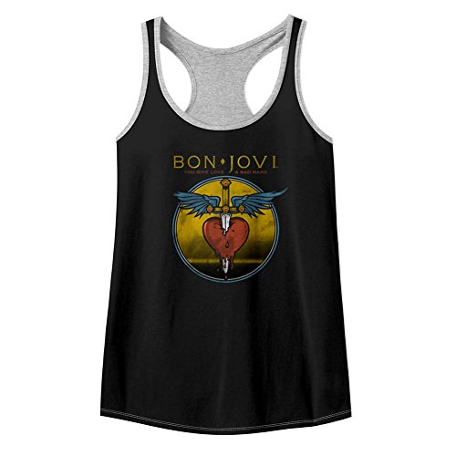 Bon Jovi Rock Band - Camiseta sin mangas para mujer, color negro y gris Multicolor multicolor XL