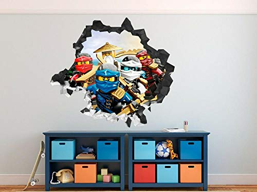 3D Look Wall Decal Ninjago Legends Wall Decal Decoration Smashed 3D Sticker Art vinyl-50×70cm