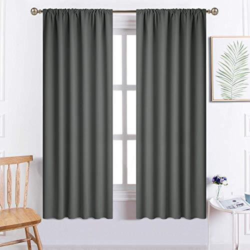 Yakamok Blackout Curtains for Bedroom, Room Darkening Thermal Insulated Rod Pocket Window Drapes for Living Room, 52 x 63 inch, Dark Grey, 2 Panels