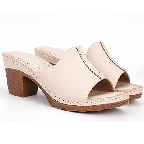 ZSS Sandalias de verano con puntera abierta, cómodas, de tacón alto, ligeras, antideslizantes, para verano, elegantes, deslizantes, 7 cm, beige, 37