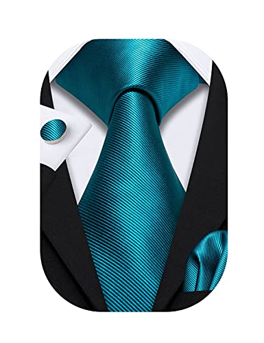 Barry.Wang Juego de corbatas para hombre, color liso, pañuelo y gemelos, para boda formal, Verde azulado sólido., Taille unique