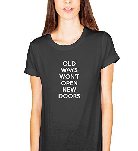 Oude manieren Nieuwe Deuren Motivatie Quote_KK015024 Shirt T-shirt T-shirt voor Mannen Gift voor Hem Present Verjaardag Kerstmis