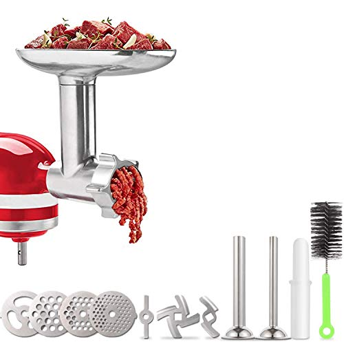 Meat Grinder Attachment for KitchenAid Stand Mixers, Accessories Included 2 Sausage Stuffer Tubes, Durable Metal Food Grinder Attachments by Kitchood, Silver