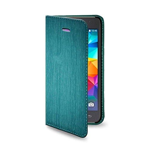 2in1 Hülle: Bookstyle Tasche mit Taschen und Magnetverschluss + Hülle in Farbe Türkis für Samsung Galaxy Grand Prime G530