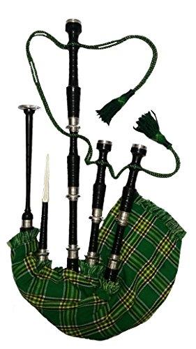 Cornamusa delle Great Highland scozzesi in palissandro finitura nera e supporti in argento, con copertura per aerofono a sacco in tartan nazionale irlandese