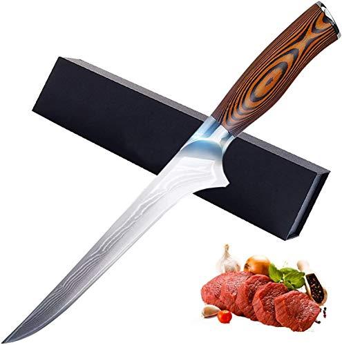 6 Inch Boning Knife- Super Sharp VG-10 Damascus Steel Boning Knife, 76 Layers High Carbon Steel & Comfortable Wooden Handle