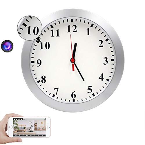 GEQWE 1080P HD WiFi Cámara Oculta Reloj De Pared Cámara Espía Cámara De Niñera con Alarma De Detección De Movimiento, Cámara De Seguridad Encubierta para Interiores