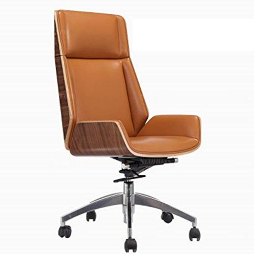 GAOXIAOMEI Bürostuhl Bürostuhl aus Holz und Leder Bürostuhl Freizeit Lehnstuhl High Back Aufzug Adjustable Chefsessel Bürostuhl Ergonomischer Drehstuhl