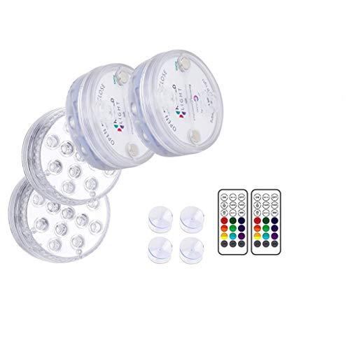 UKtrade 13 luces LED sumergibles 100% impermeables, luces de estado de ánimo, funciona con pilas con control remoto IR para florero, boda, Halloween, Navidad