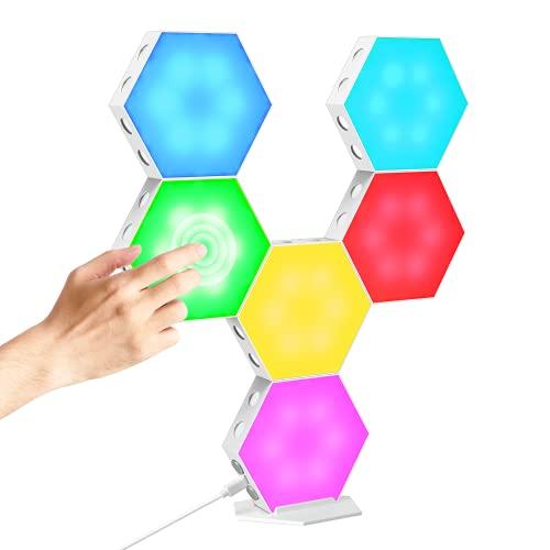 CoMokin Luz LED Hexagonal, 6 Packs RGB Luces Hexagonales Sensibles al Tacto, Luces de Pared LED Inteligentes, Luces color de Bricolaje para Empalmes Utilizadas en Regalos, Decoración de Dormitorios