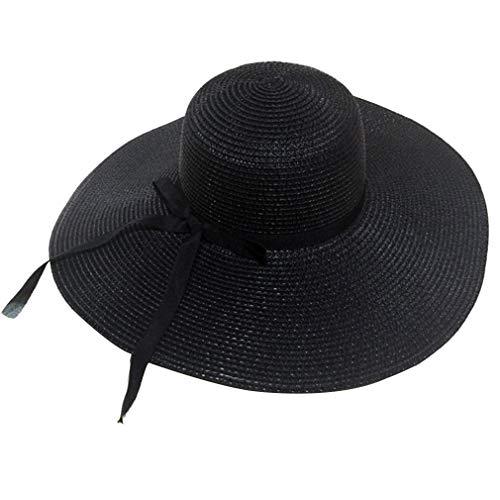 Las mujeres ala ancha sombreros de paja de disquete sombrero para el sol playa de las señoras del verano del casquillo plegable (Negro)