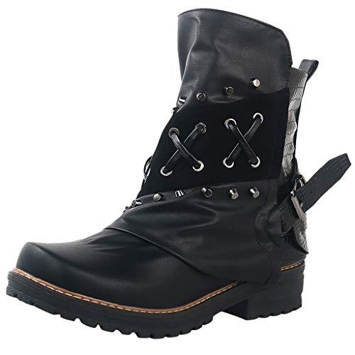 Botines de Cuero Mujer Otoño Vintage con Cordones Zapatos Botas cómodas de tacón Plano Cremallera Lateral Botines Biker Gran Tamaño Romana Bota Corta riou
