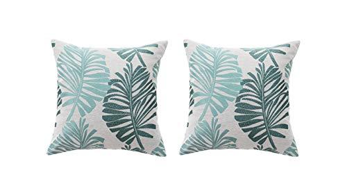 2 fundas de cojín de 45 x 45 cm, de lino, con cremallera invisible, para sofá, interior y exterior, color verde