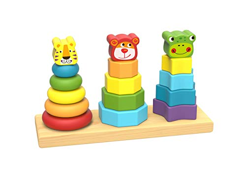 Wooden Toys Wooden Stacking Toys – Baby Stacking Toys – Stacking Rings with Lion, Dog and Frog Head – Designed for Cognitive and Fine Motor Skills Development – Classic Stacker for 2 Year Olds