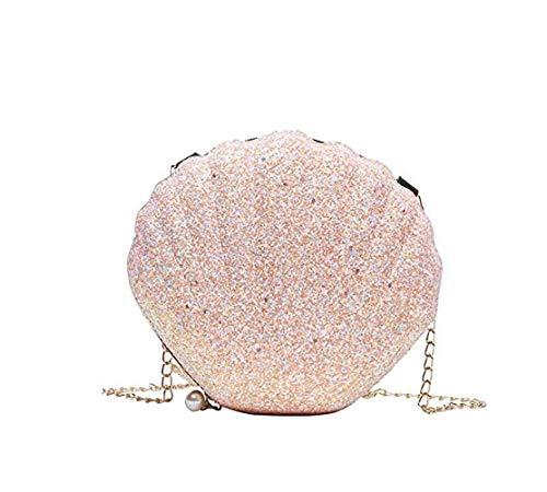 yiguanguan Damen Handtasche Muschel Schultertasche Mädchen Tasche Abendtasche aus Pailletten Geschenk Dekoration tragbar kleine Brieftasche, Rosa, S
