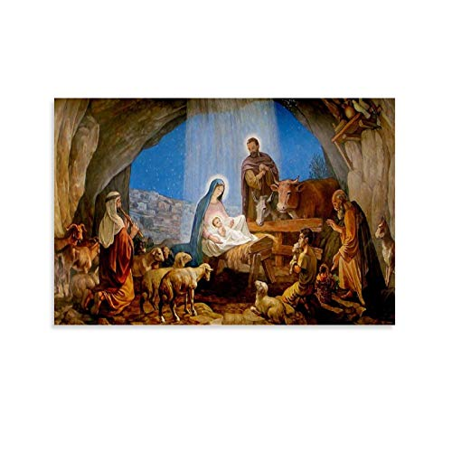 tongton Nativity Scene Canvas Art Poster and Wall Art Picture Print Modern Family bedroom Decor Posters 20x30inch(50x75cm)