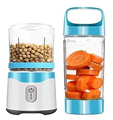 Portable Blender USB Rechargeable Juicer Travel Juice Cup Baby Food Blender Kitchen Tools juicer machines LHAHGLY (Color : Green)