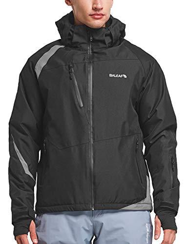 BALEAF Men's Waterproof Ski Jacket Mountain Windproof Winter Snow Coat Rain Jacket Black/Gray M