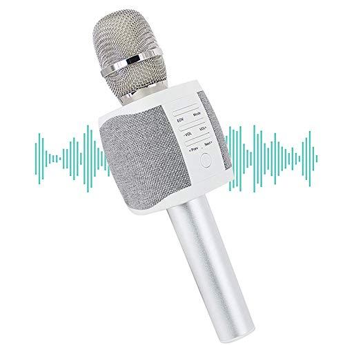 Micrófono manos libres para DJ Bluetooth inalámbrico KTV Karaoke Player micrófono de condensador/sistema de estudio compatible con Android Smartphone IOS iPhone PC Laptop Tablet (Sliver/New)