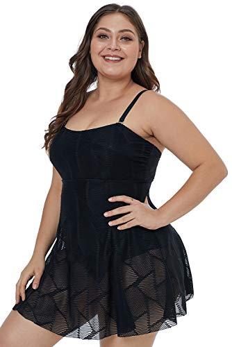 Traje de baño Tallas Extras para Dama con batita Vestido Negro (XL)