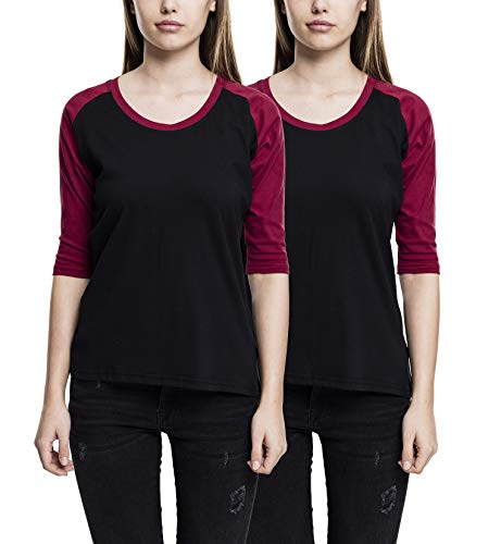 Urban Classics Ladies 3/4 Contrast Raglan tee Camiseta, Multicolor (Blk/Burgundy (2/Pack) 00651), X-Large Mujer