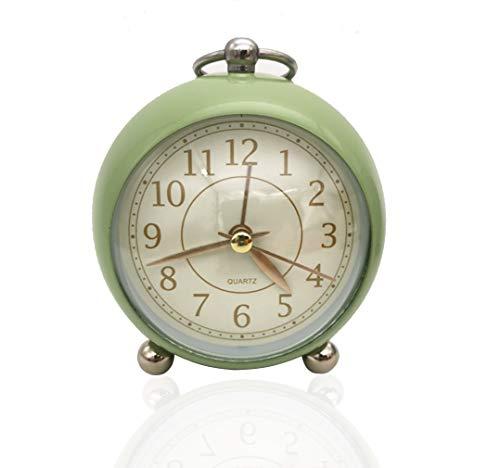 Reloj despertador analógico retro con doble campana, sin tictac, vintage, funciona con pilas, de cuarzo, reloj de mesa con luz nocturna para niños, sueño profundo (verde)