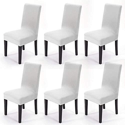 MultiWare 6 x Stuhlhussen Stretch Hussen Stuhlbezug Stuhlüberzug Hochzeit Mehrere Auswahl Weiß
