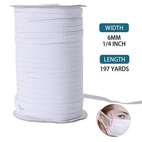 FLOWEROOM Gevlochten Elastische Band 1/4 Inch (6mm) Breedte 197 Yards (180m) Lengte Wit Elastisch koordje voor het naaien Craft DIY