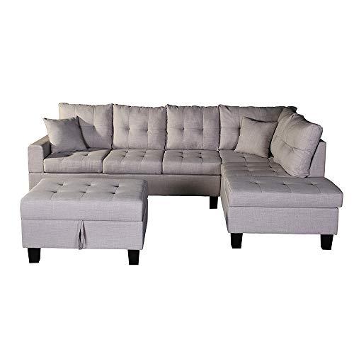 Home Deluxe - Ecksofa Mailand Links - Farbe Beige - 264,2 cm x 181,6 cm x 87,6 cm - inkl. Hocker | Sofagarnitur, Sofa L-Form, Couch, Wohnlandschaft
