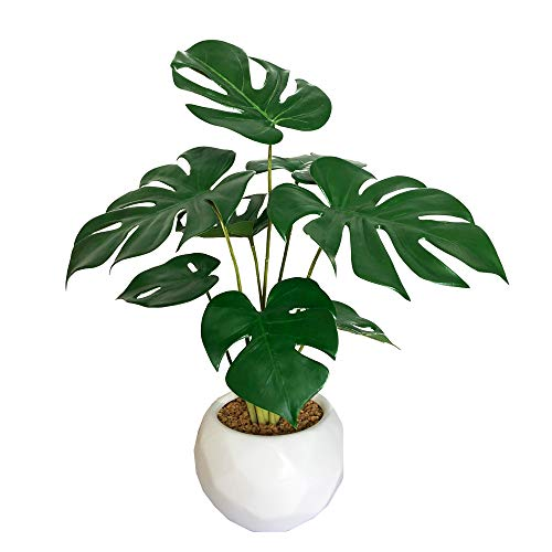 BESAMENATURE Mini Artificial Monstera Plant, Tabletop Artificial Chess Plants for Indoor Decoration, 14-inch Tall, Ships in White Ceramic Planter