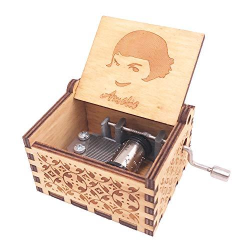 Amelie - Caja de música de manivela de mano de madera tallada, diseño de canción de Amelie, color marrón