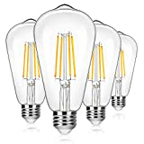 4-Pack Vintage 8W ST64 LED Edison Light Bulbs 100W Equivalent, 1400Lumens, 2700K Warm White, E26 Base LED Filament Bulbs, CRI 90+, Antique Glass Style Great for Home, Bedroom, Office, Non-Dimmable