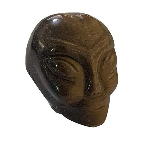 Gemstone 1.8' Alien Skull Hand Carved Fine Art Sculpture Skull Stone Pocket Statue Figurine Decor Healing Crystal Energy Collectible Figure (Tiger Eye)
