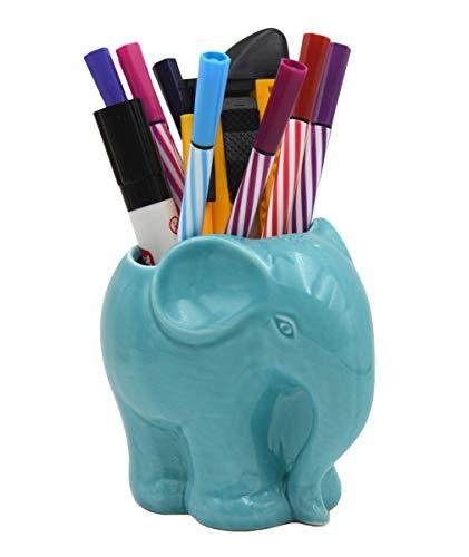 3.9' Ceramic Elephant Pencil Holder/Pen Holder/Plant Pot/Bonsai Pot/Flower Pot/Succulent Planter (Blue)