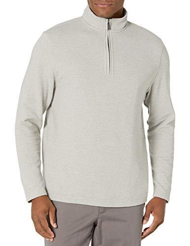 Van Heusen Men's Flex Long Sleeve 1/4 Zip Ottoman Solid Shirt, Silver Birch, Medium