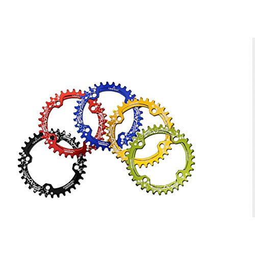 SWEETQT / Compatible 104BCD XT Multicolor Estrecho Ancho Oval Redondo 30T 32T 34T 36T MTB Bicicleta Plato de Cadena Ciclismo Plato Círculo Plato de bielas