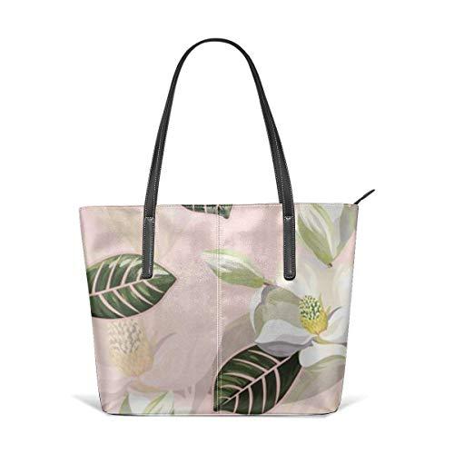 BAODANLA Borse a spalla da donna Women's Stylish Casual Tote Bag Canvas Travel Bags White Flower Multilayer Shoulder Bags