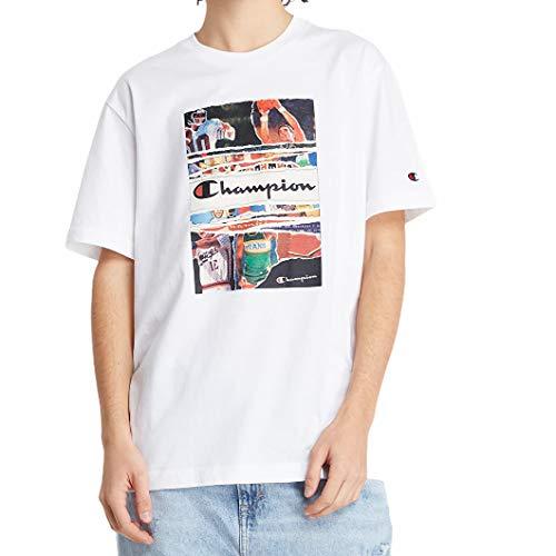 Champion Crewneck 216032 F21 - Camiseta para hombre, color blanco Blanco L