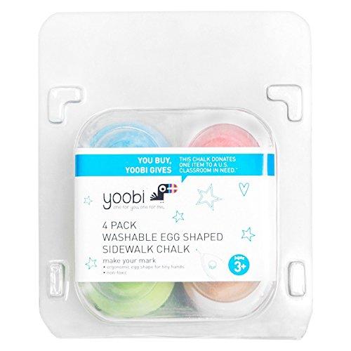 Yoobi Washable Egg Shaped Sidewalk Chalk 4pc