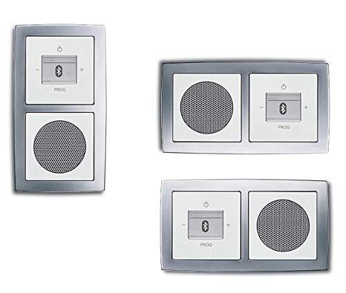 Busch Jäger Unterputz Bluetooth Radio 8217 U (8217U) chrom matt + Future linear Studioweiß (sehr edel!) Radioeinheit + Lautsprecher + 2fach Rahmen 1722-80 + Abdeckungen