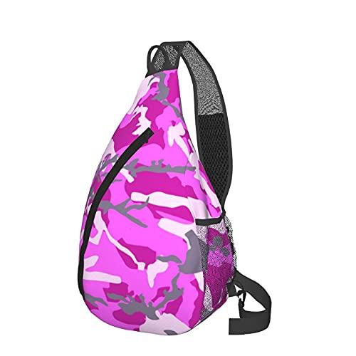 Pink Camouflage Sling Backpack,Crossbody Shoulder Chest Bag Outdoor Travel Hiking For Women & Men