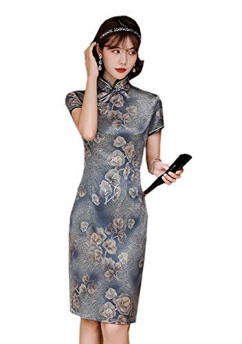 "YueLian Floral Satin Qipao Cheongsam Chinese Traditional Dress Qipao for Womens Ladies (Grey,Tag M:Waist 28.34"",Bust 35.43"")"